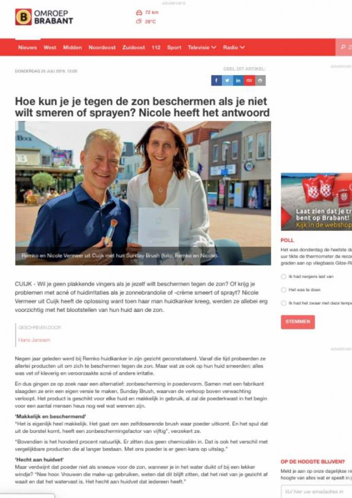 Omroep Brabant publicatie Sunday Brush