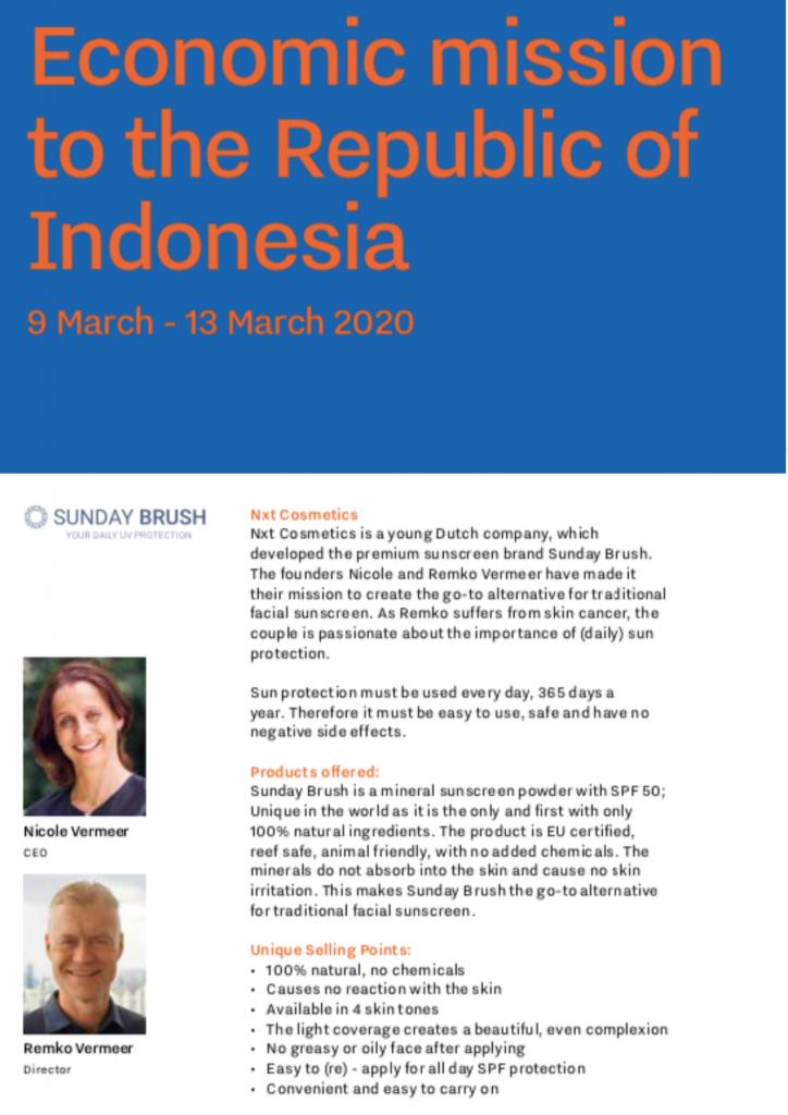 Koninklijke handelsmissie Indonesië Sunday Brush
