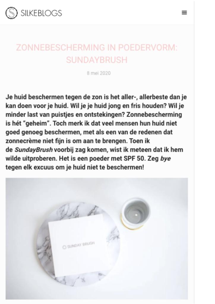 Publicatie Silke blogs - Sunday Brush 1