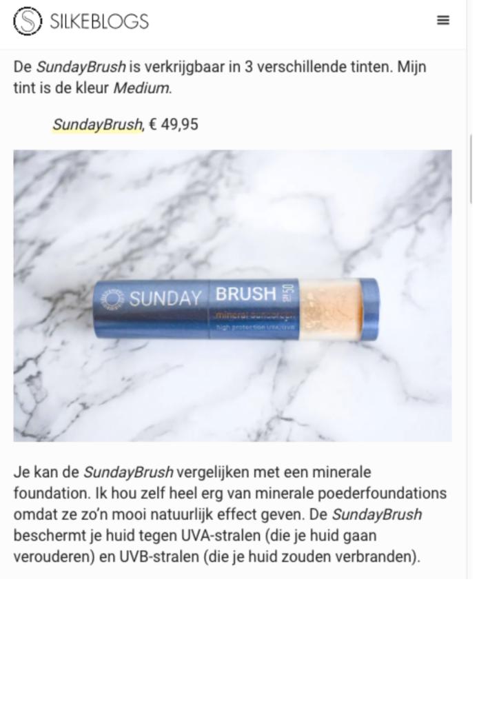Publicatie Silke blogs - Sunday Brush 3